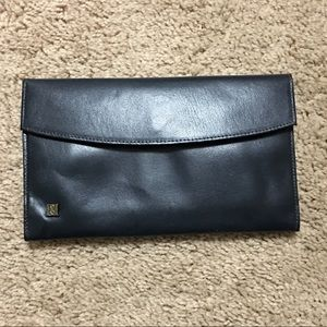 VTG navy leather wallet, attached change purse